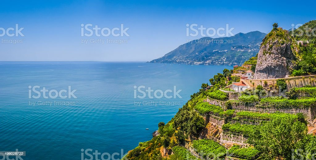 Postcard view of Amalfi Coast, Campania, Italy stock photo