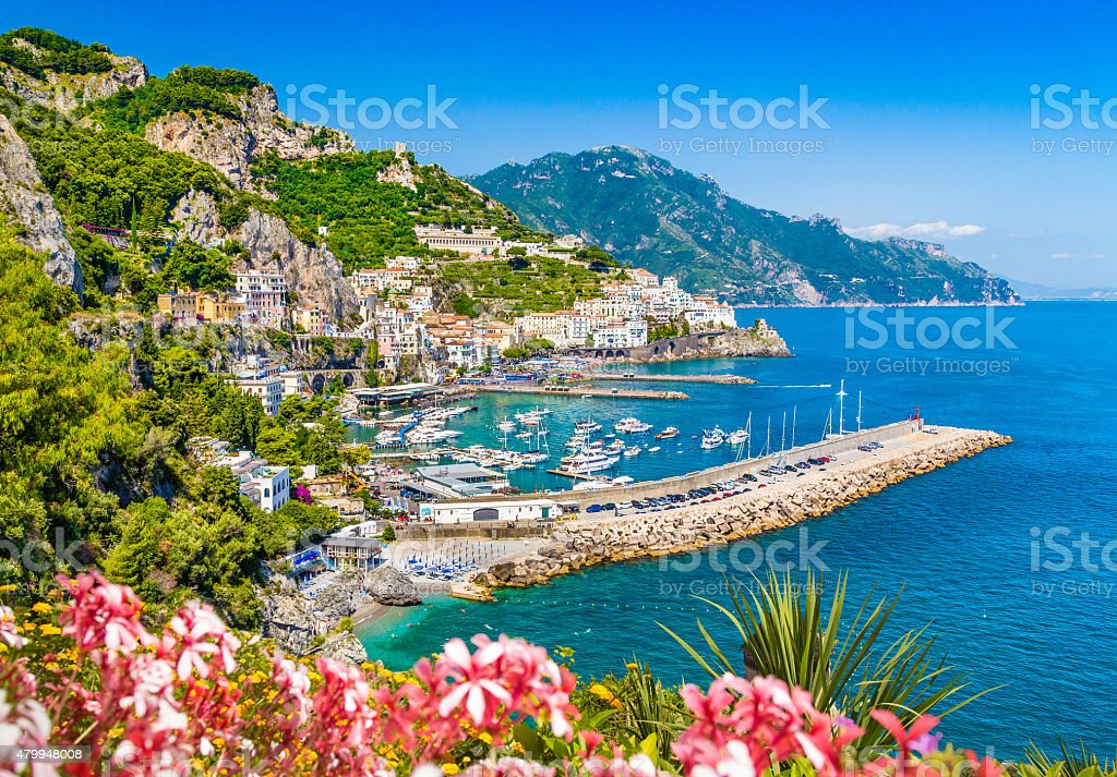 Postcard view of famous Amalfi Coast, Campania, Italy stock photo