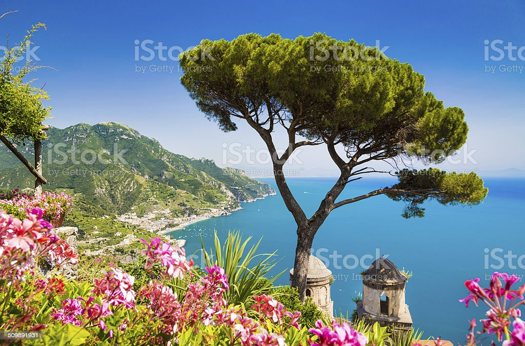 Postcard view of famous Amalfi Coast from Ravello, Campania, Italy stock photo