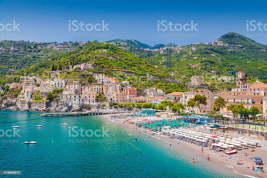 Postcard view of Minori, Amalfi Coast, Campania, Italy stock photo