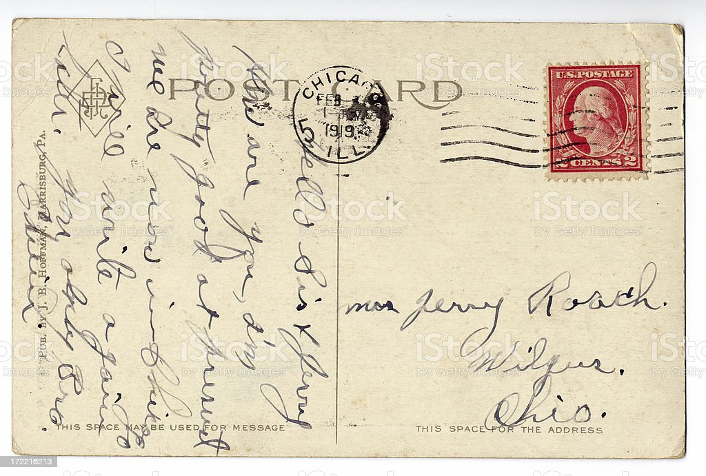 Postcard with note written sideways stock photo