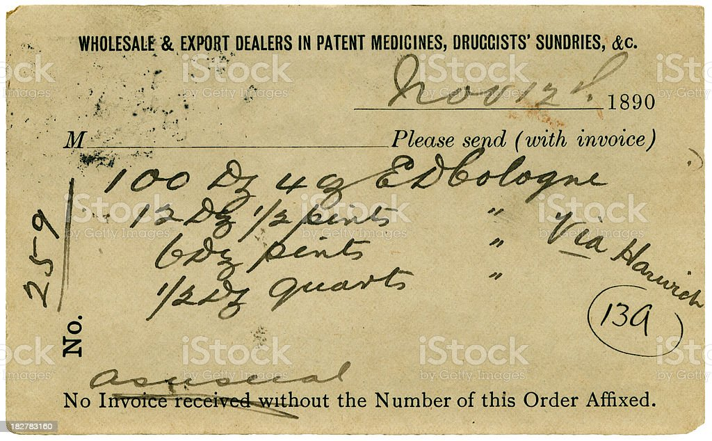 Postcard with order for cologne, 1890 royalty-free stock photo