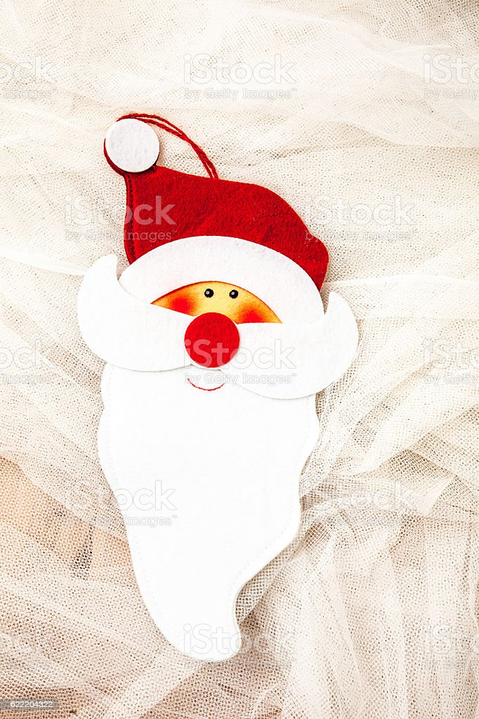 Postcard with the face of Santa Claus. stock photo