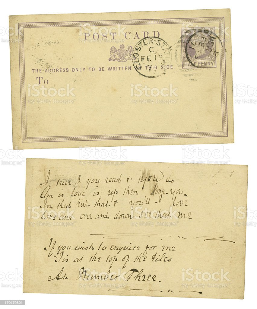 Postcard with Valentine's Day love puzzle message, 1871 stock photo