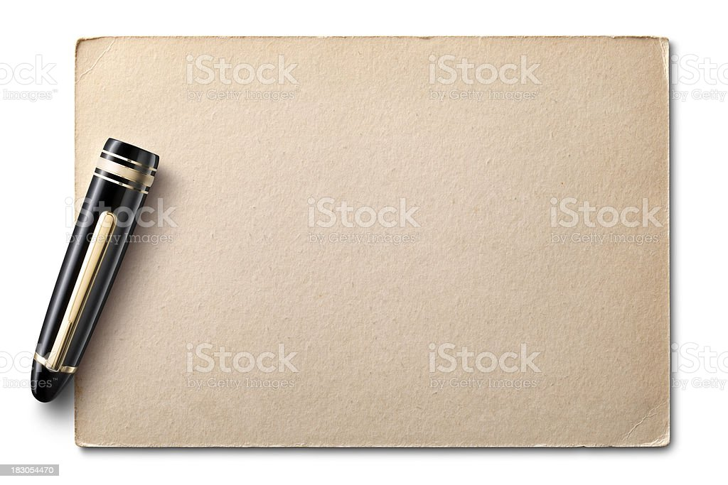 Postcard/Letter with fountain pen's cap royalty-free stock photo