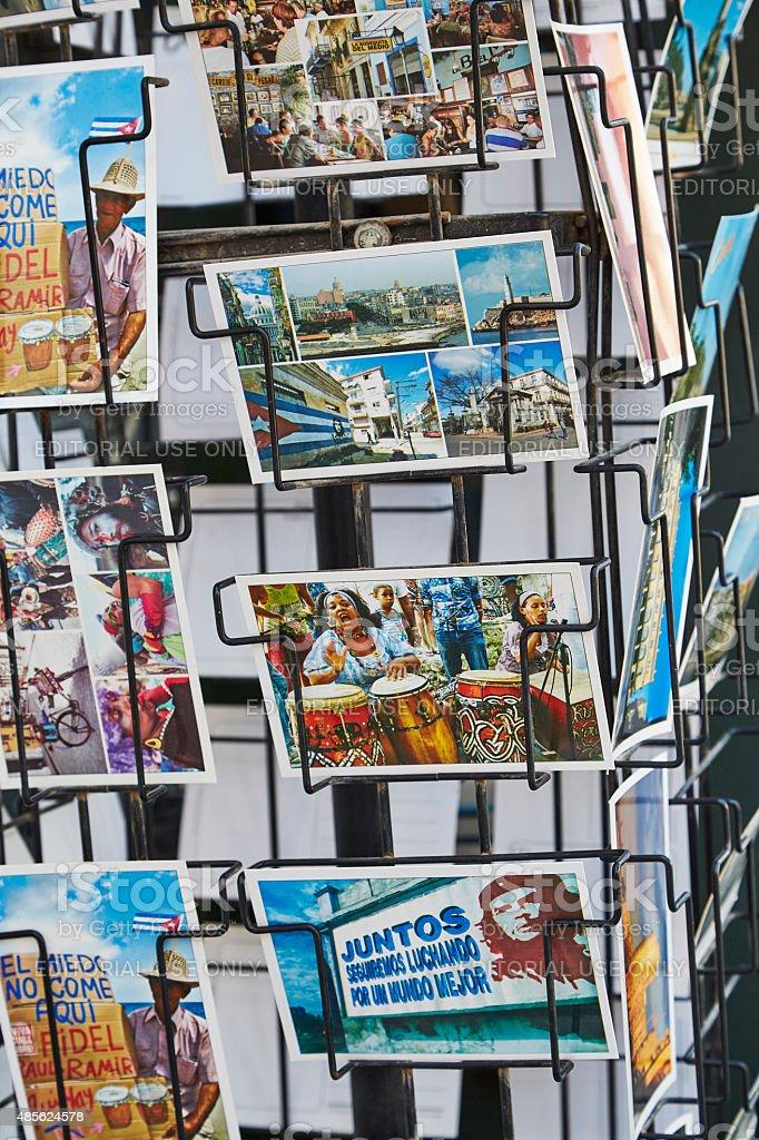 Postcards for Sale in Habana Vieja, Cuba stock photo