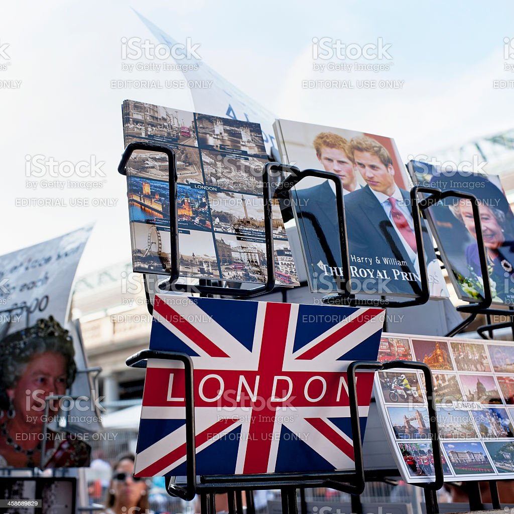 Postcards on a display rack in London. stock photo