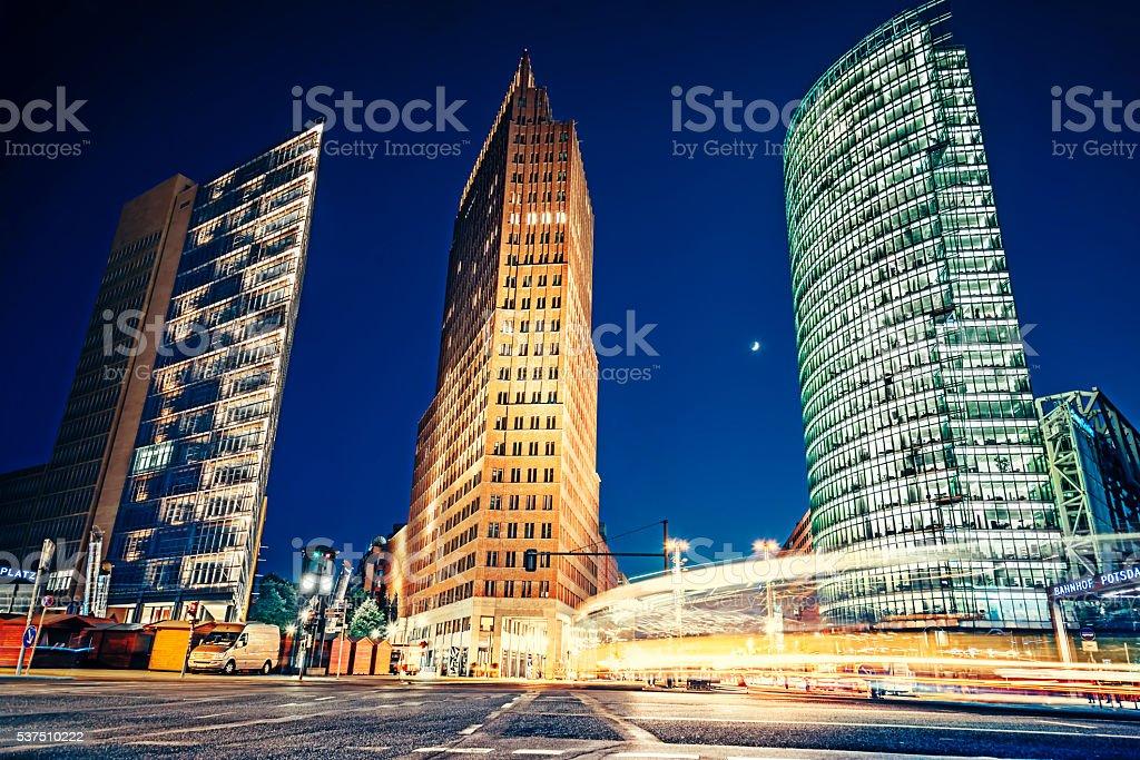 Postdamer Platz in Berlin at night time stock photo