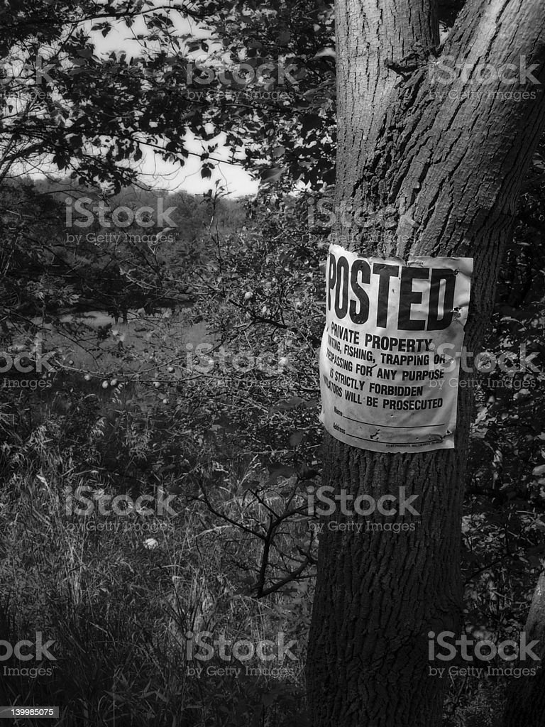 Posted - Private Property stock photo