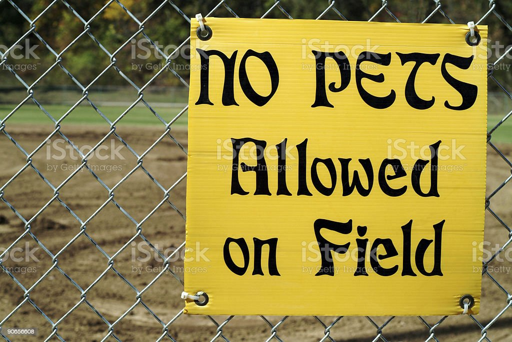 Posted yellow sign for no pets allowed on field stock photo
