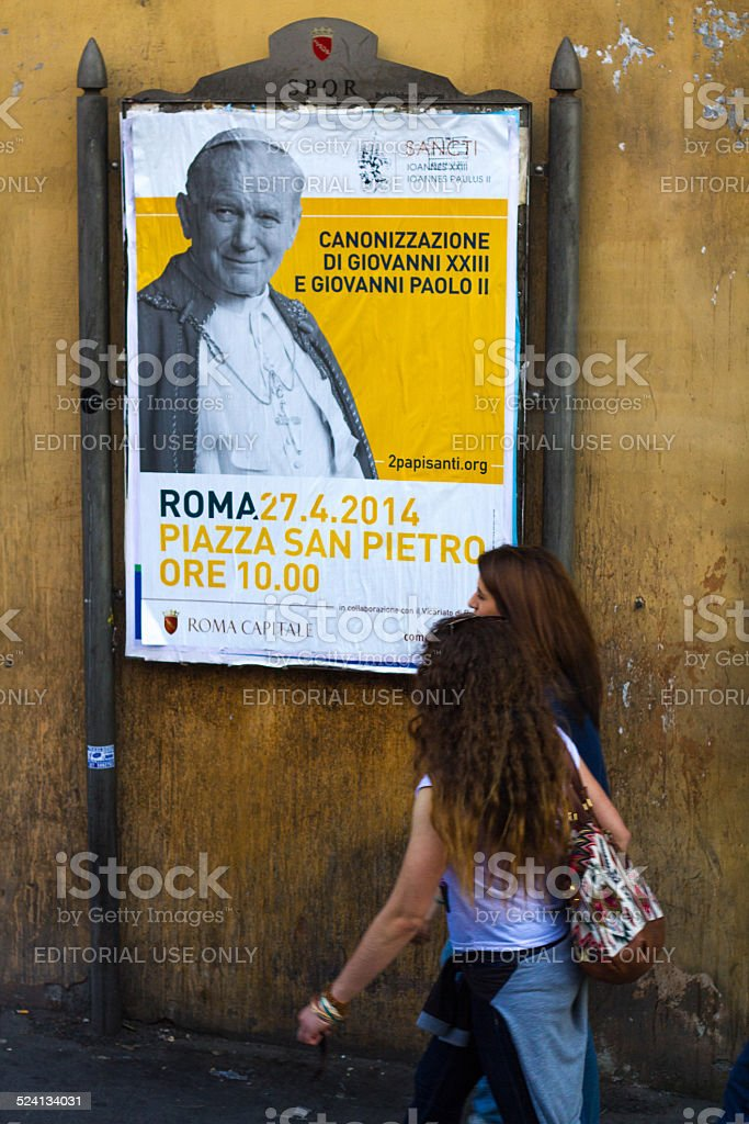 Poster Announcing Canonization of Popes stock photo