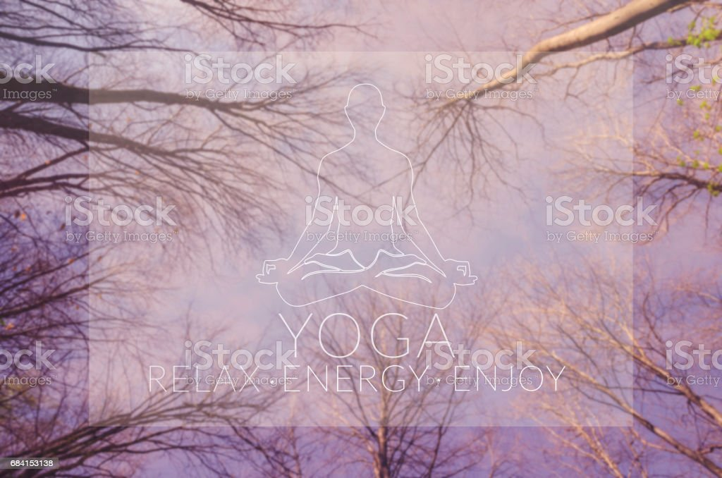 Poster for yoga class with sky view. stock photo