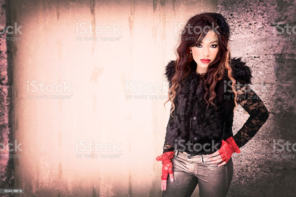 Poster Girl In Fur Vest and Red Gloves stock photo