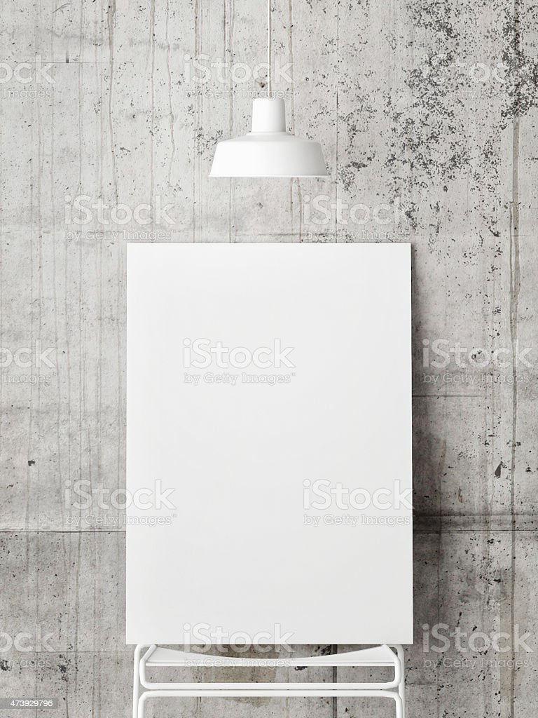 poster mock up on concrete wall, 3d illustration stock photo