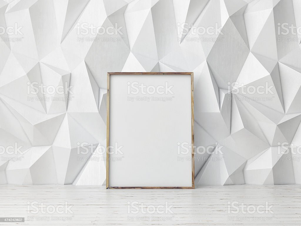 poster mock up, pattern white wall background, 3d illustration stock photo