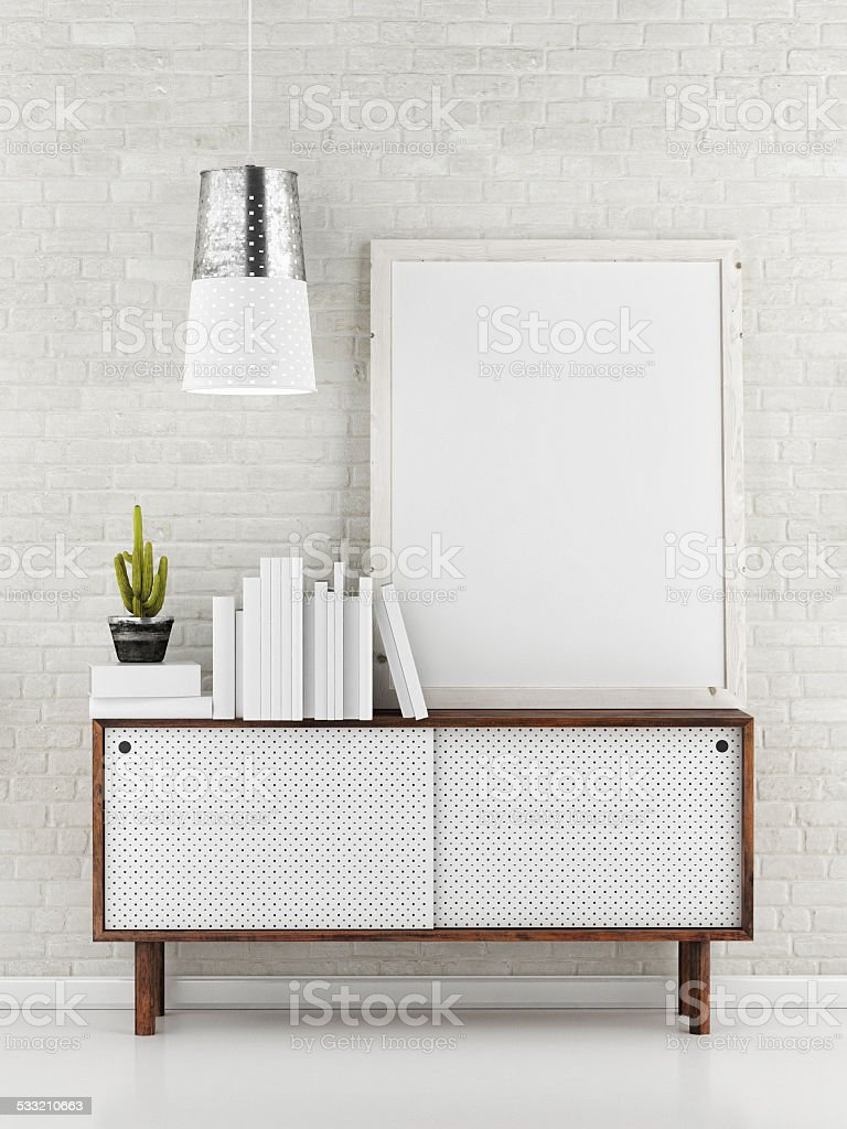 Poster Mock up, white brick background, 3d illustration stock photo