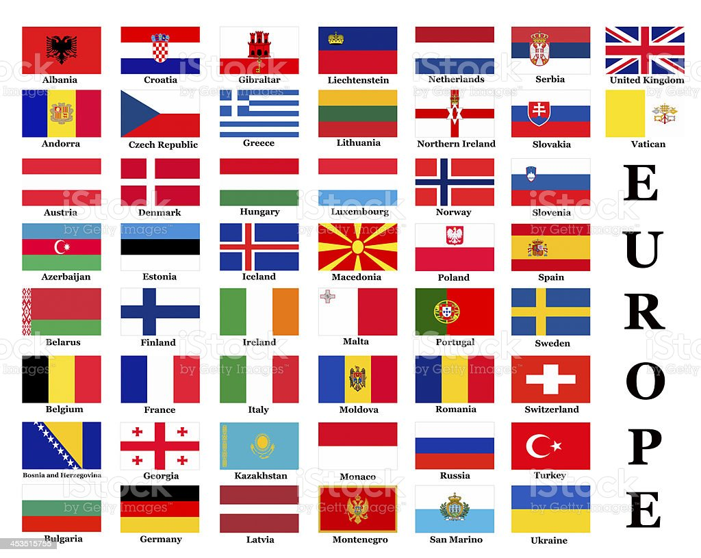 Poster of all the flags of the nations of Europe stock photo