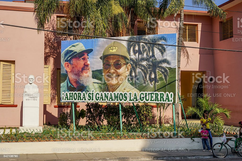 Poster of Raul and Fidel Castro stock photo