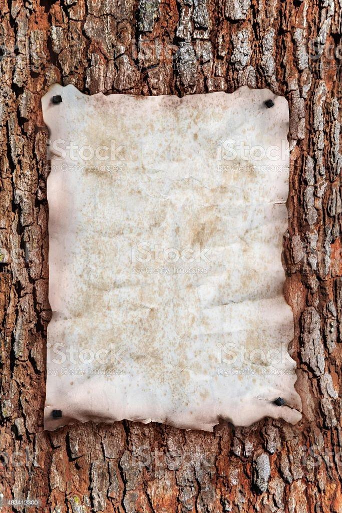 Poster on tree stock photo