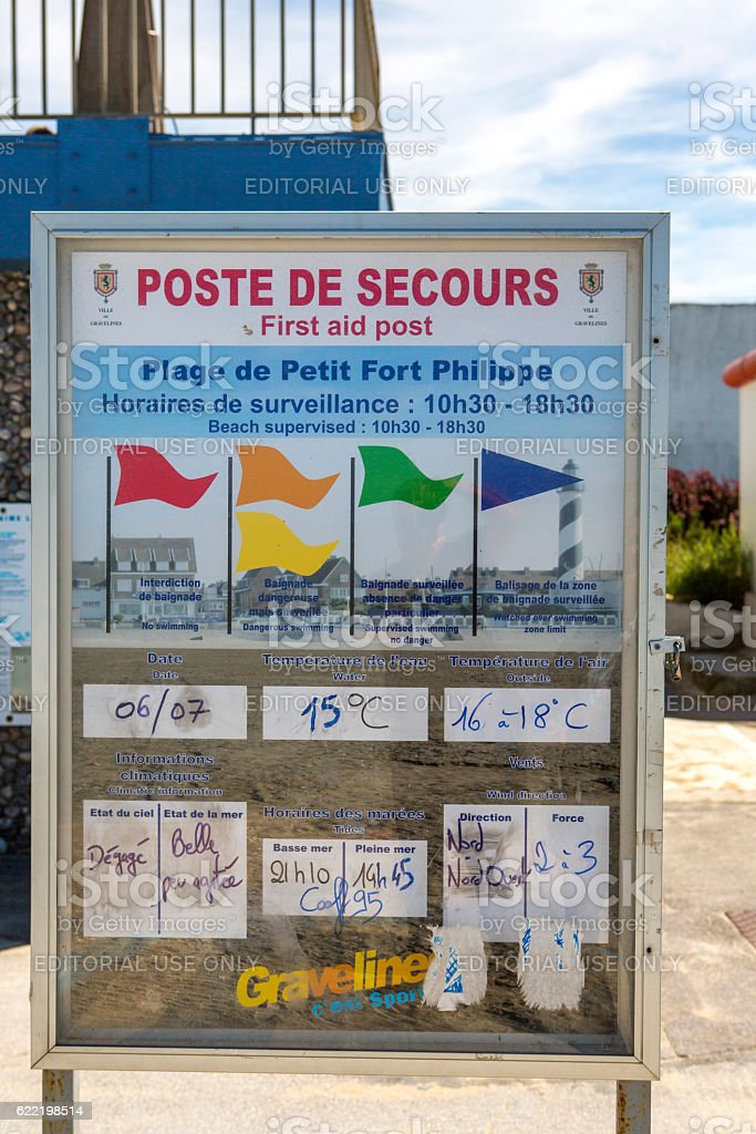 Poster showing beach information at  petit-fort-philippe near calais france stock photo