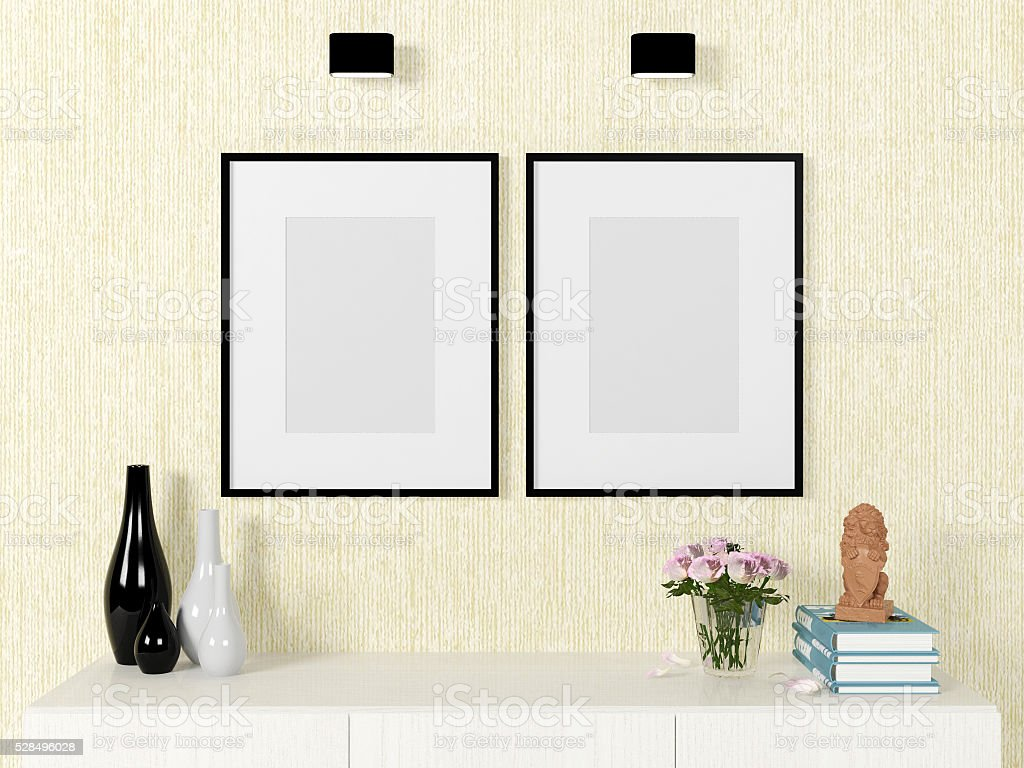 Poster template mock up on wall with decorative elements, 3D render