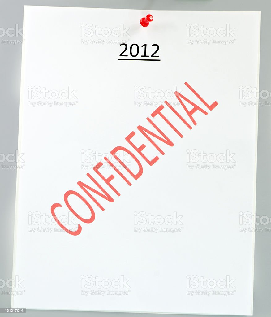 2012  Poster with Confidential Watermark royalty-free stock photo