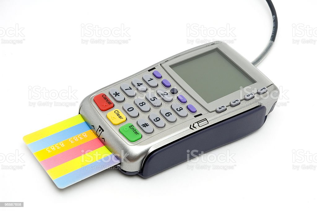 POS-terminal with card inserted stock photo
