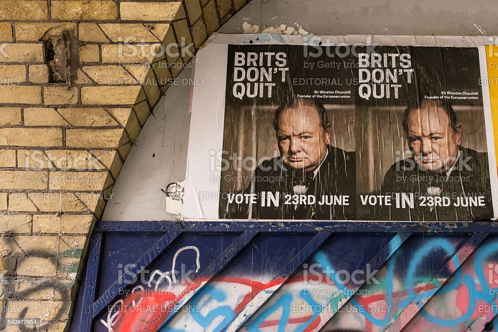 Posters in favor of vote to remain in European Union stock photo