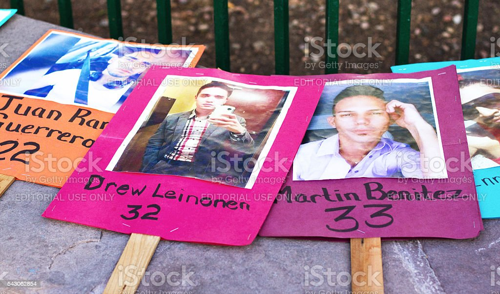 Posters Memorializing Victims of Orlando Nightclub Massacre stock photo
