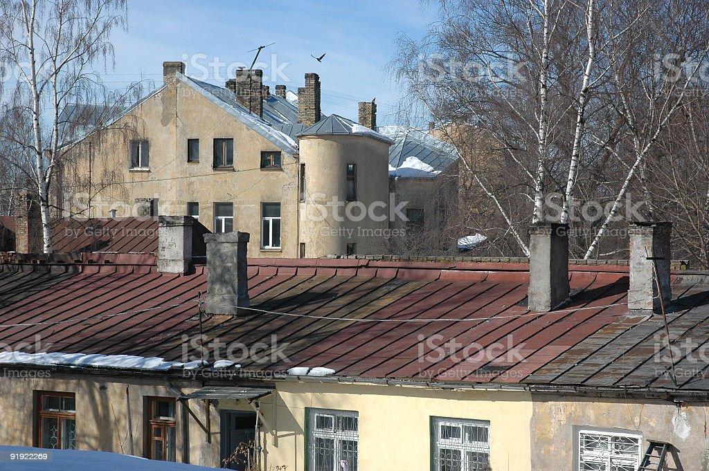 Post-industrielle scène sur le toit photo libre de droits