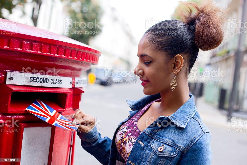 posting postcard royalty-free stock photo