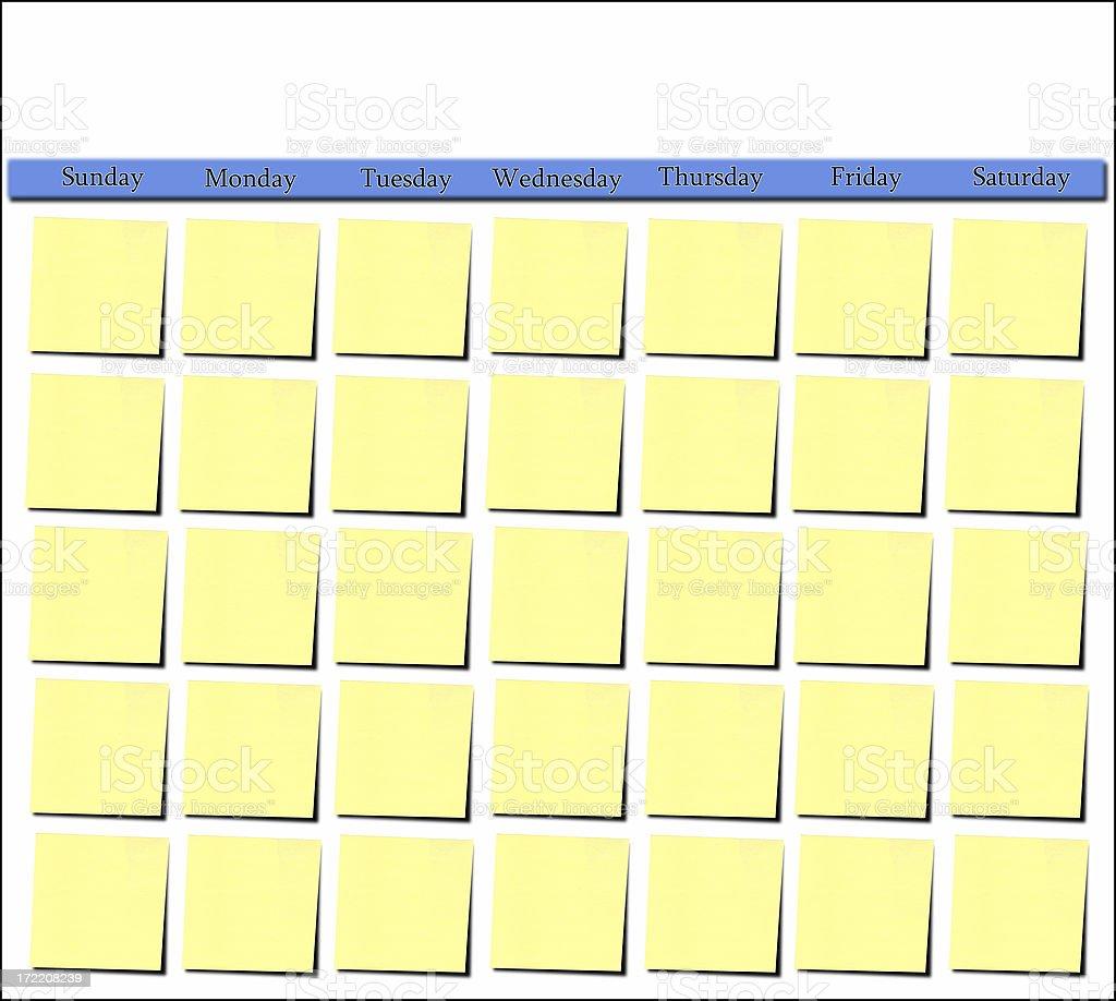Postit Calendar Template stock photo