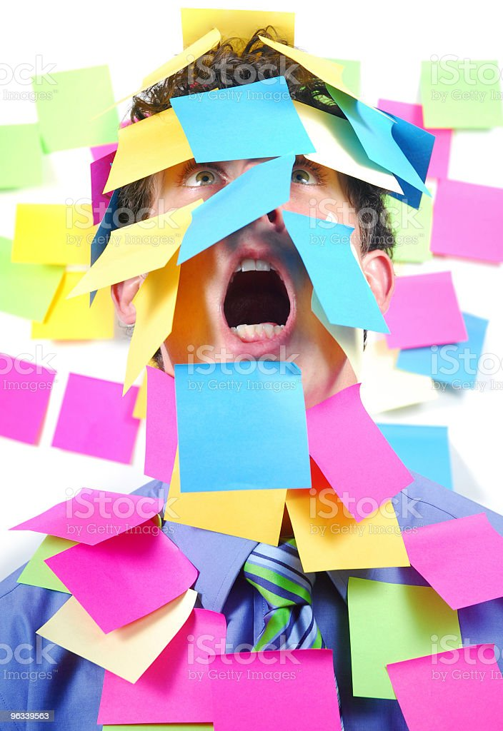 Post-It Covered Worker royalty-free stock photo