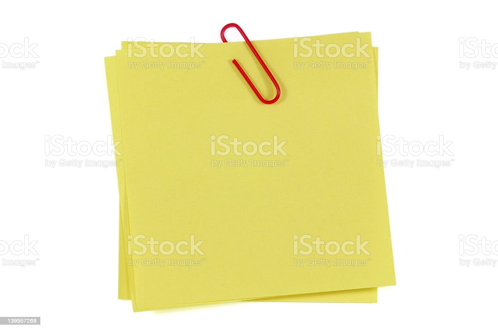 Post-It Note and Clip royalty-free stock photo