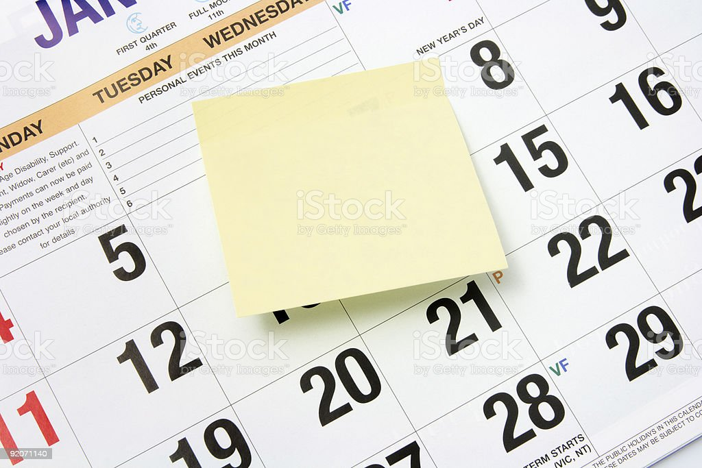 Post-It Note on Calendar royalty-free stock photo