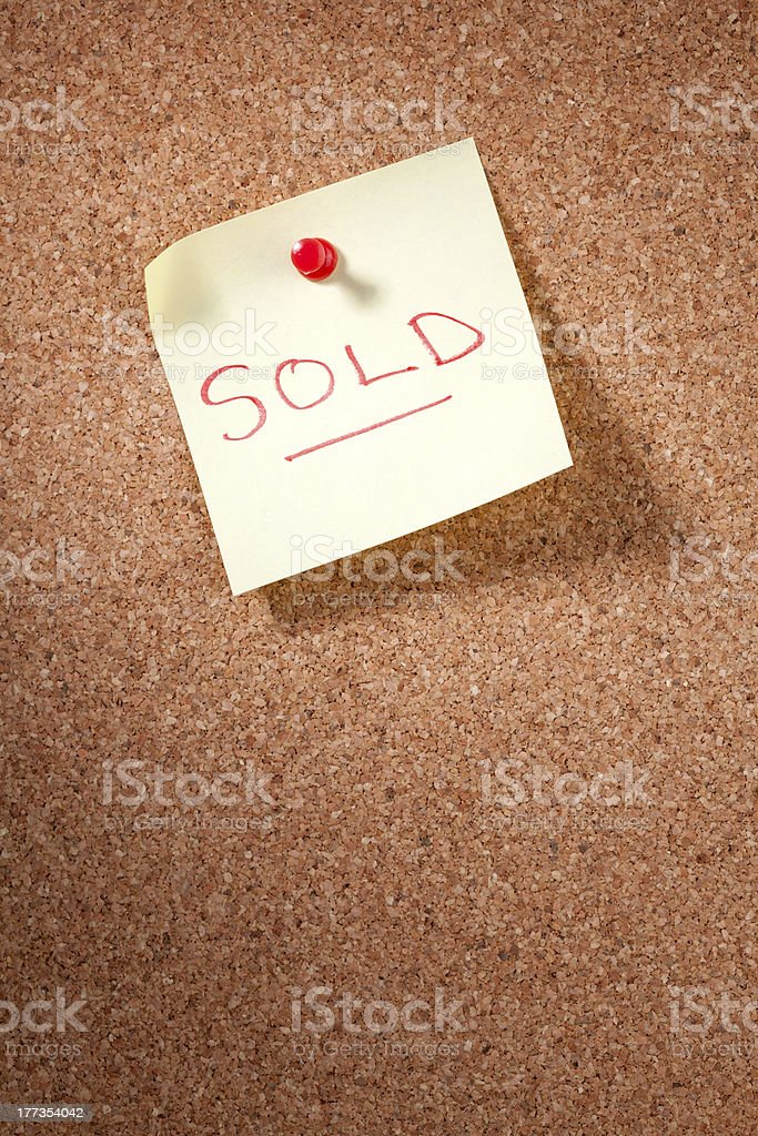 Post-it Note Saying Sold royalty-free stock photo