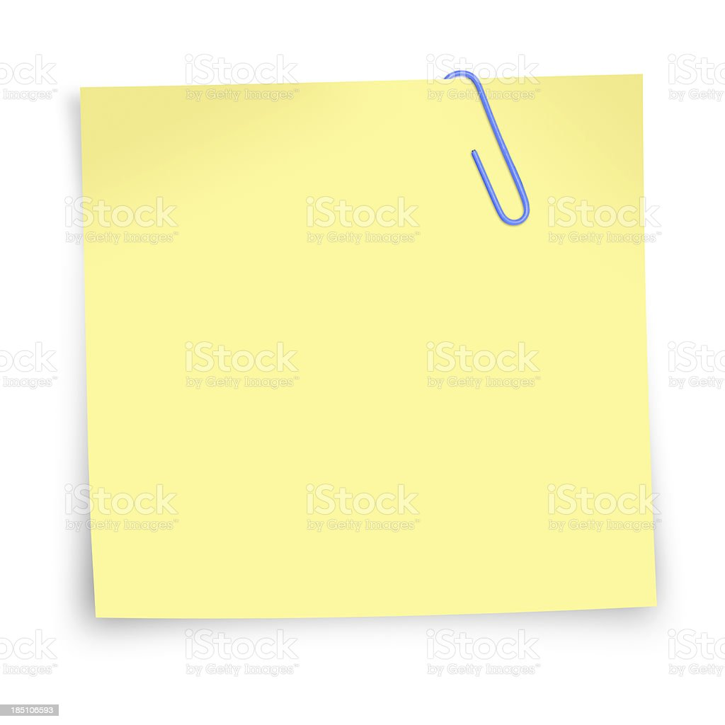 postit note with paper clip stock photo