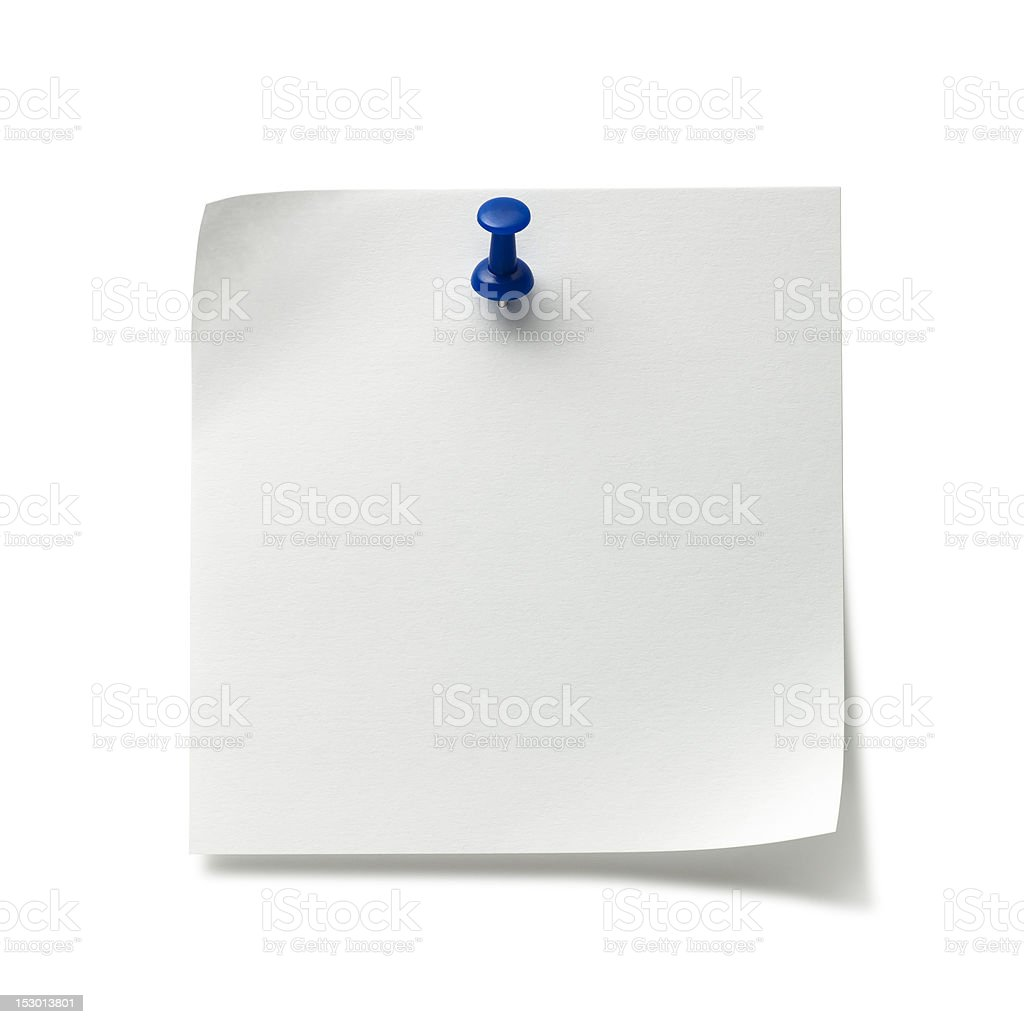 Post-it Note with Push Pin royalty-free stock photo