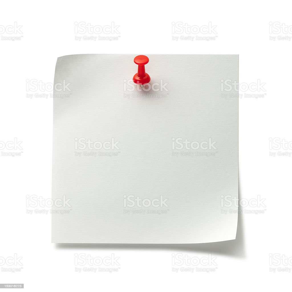Post-it Note with Push Pin stock photo