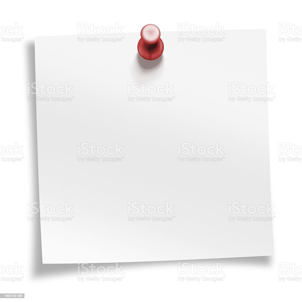 postit note with push pin stock photo