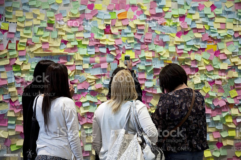 Post-it notes, a wall of solidarity stock photo