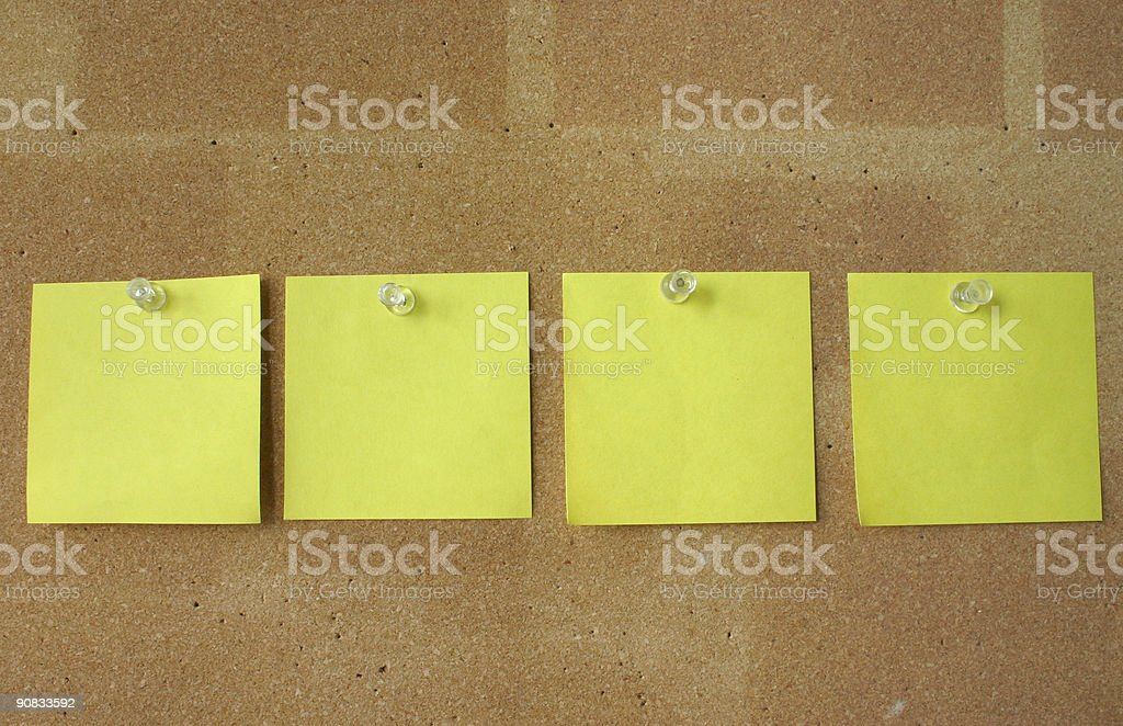 post-it notes pinned in line royalty-free stock photo