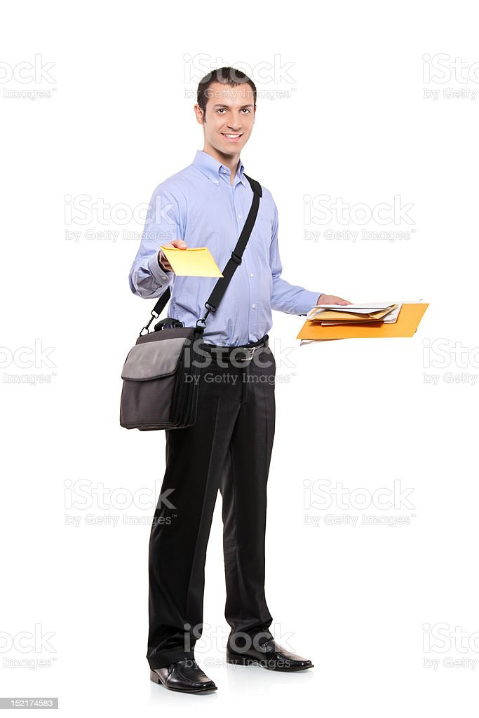 Postman delivering mail stock photo