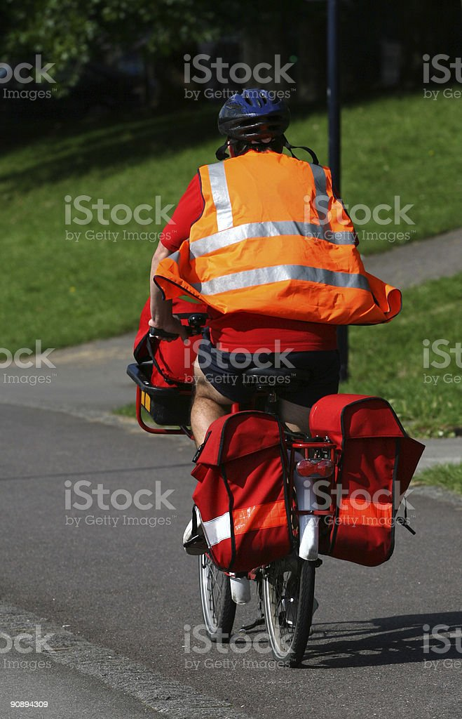 Postman delivery bicycle stock photo