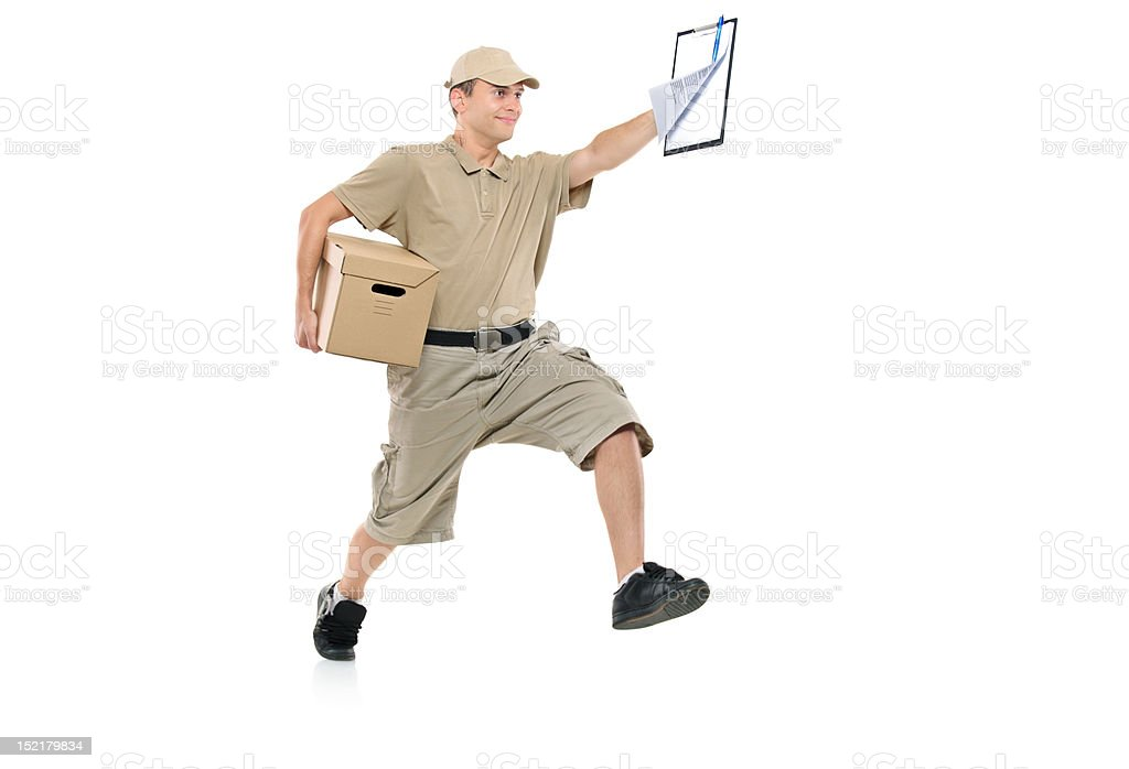 Postman in a hurry delivering package royalty-free stock photo