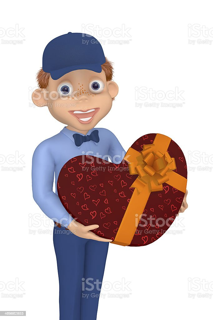 Postman with a box as a heart to the Valentine's day royalty-free stock photo
