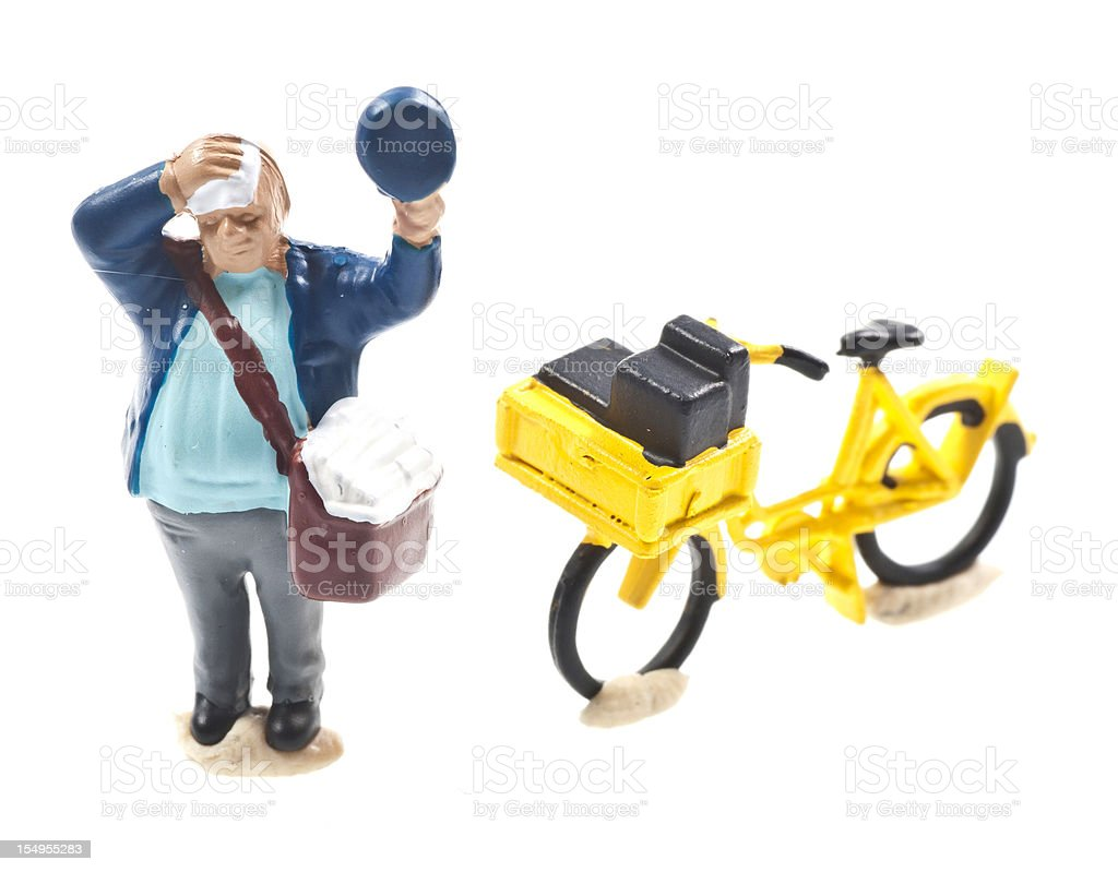 postman with yellow bicycle royalty-free stock photo