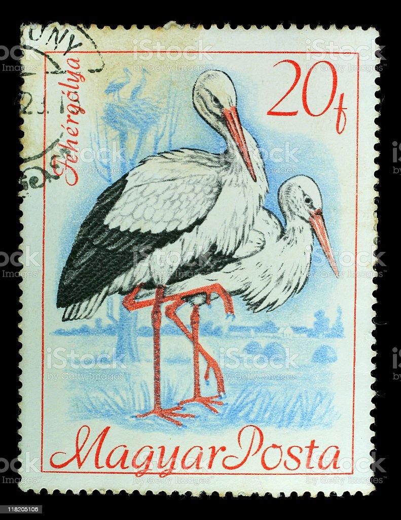 Postmark Bird Stork royalty-free stock photo