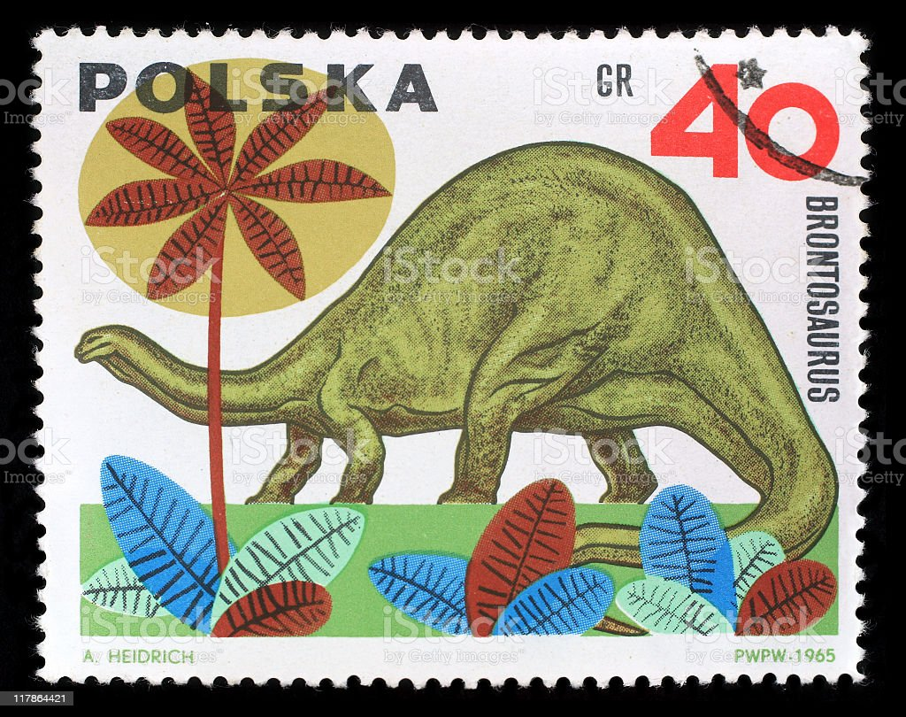 Postmark - Brontosaurus stock photo