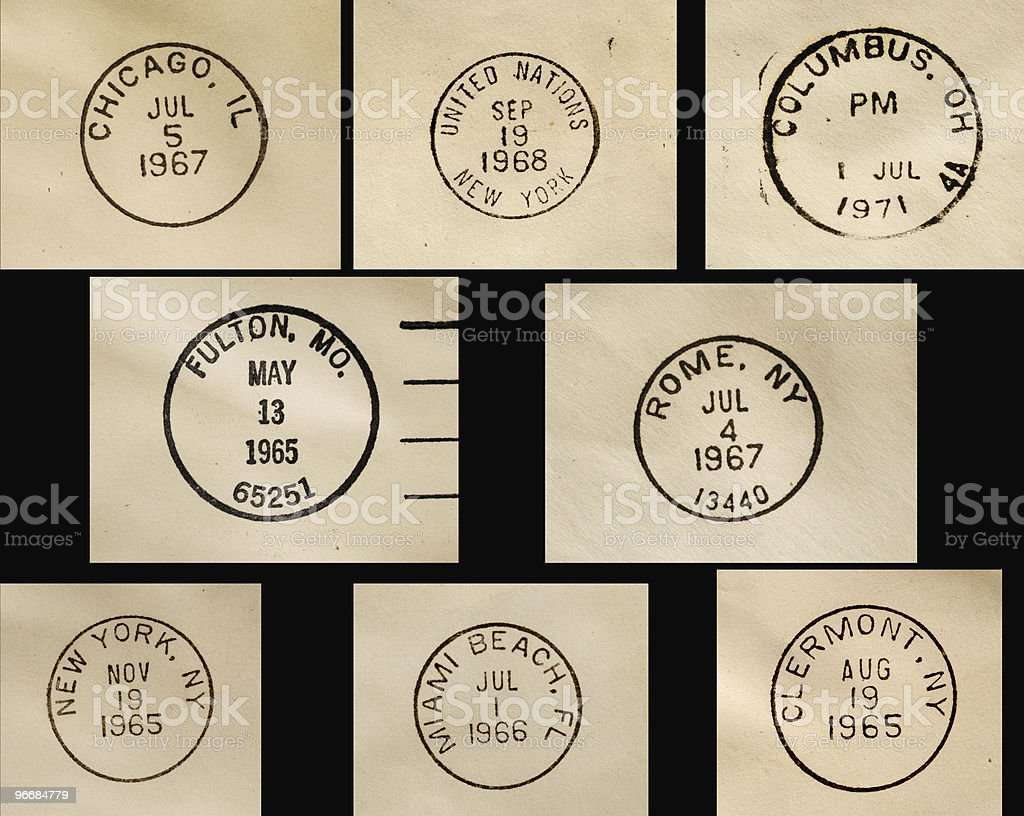 Postmark collection stock photo
